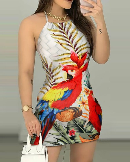 Palm Leaf Parrot Print Backless Dress