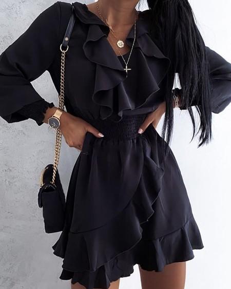 boutiquefeel / Solid Long Sleeve Ruffles Loose Skinny Waist Mini Dress