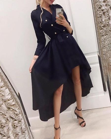 Solid Double Breasted Dip Hem Blazer Dress