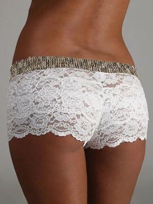Guipure Lace Elastic Waist Lingerie Shorts