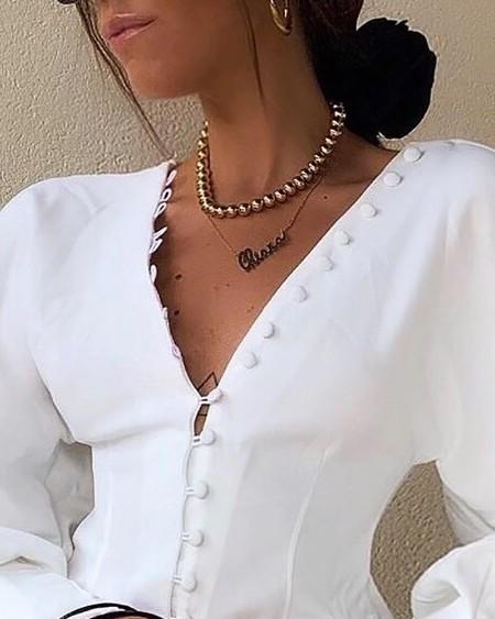 Buttoned Lantern Sleeve V-Neck Blouse