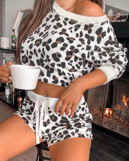 Long Sleeve Leopard Print Lounge set