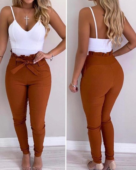 High Waist Frill Hem Casual Pants