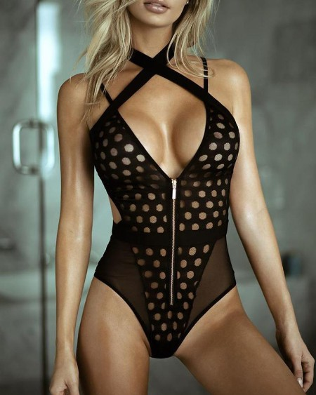 Solid Cut-out Strap Skinny Bodysuit