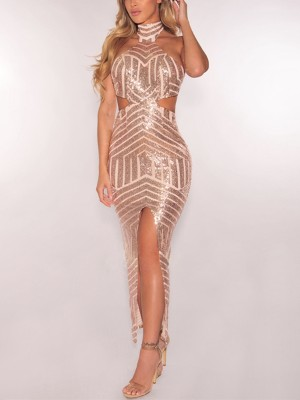 Stylish Sequins Slide Slit Bodycon Dress