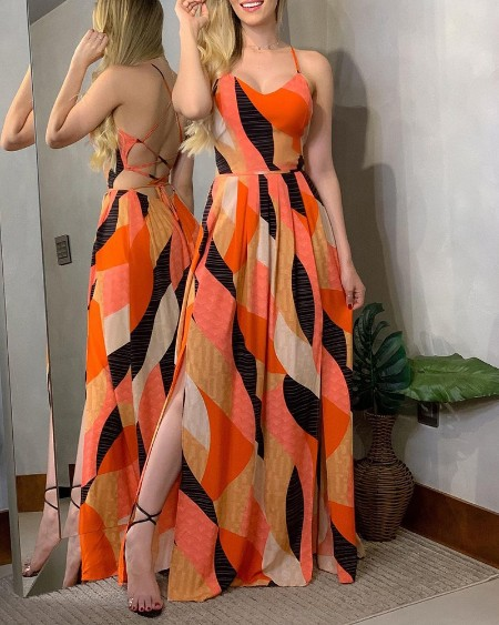 Backless High Slit Maxi Dress