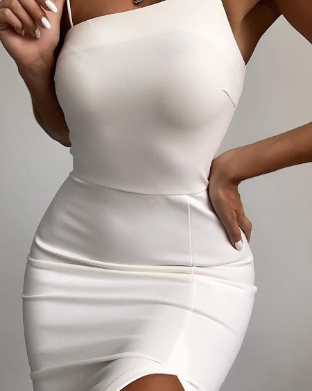Solid Asymmetrical Bodycon Strap Dress