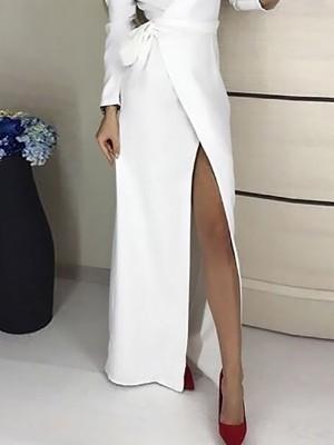 Solid V-Neck Tied Waist Wrap Maxi Dress