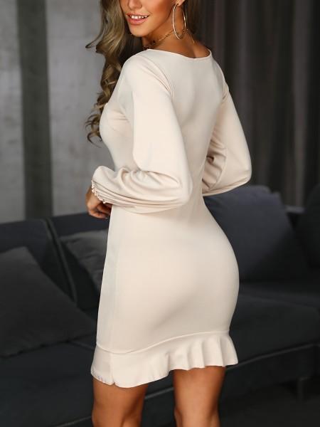 Single-Breasted Puff Sleeve Flutter Hem Dress