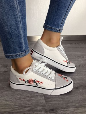Floral Embroidery Lace-up Canvas Sneakers