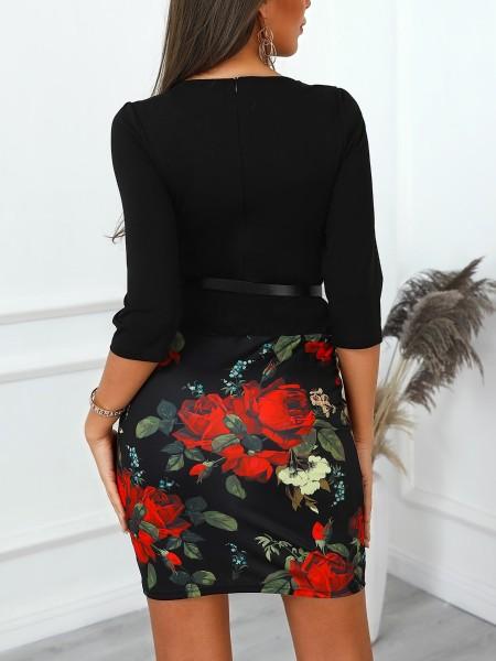 Vintage Floral Print Belted Fake Two Piece Dress