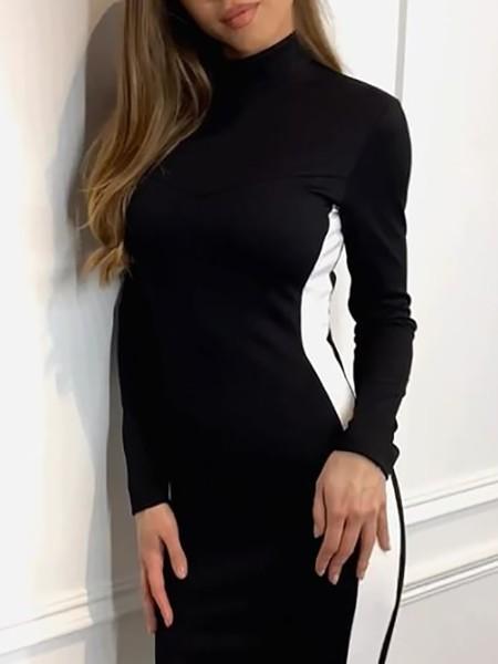 Striped Side Long Sleeve Bodycon Dress