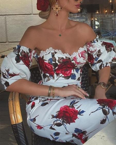 Floral Print Lace Trim Midi Dress