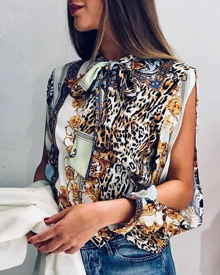Leopard Print Slit Sleeve Casual Blouse