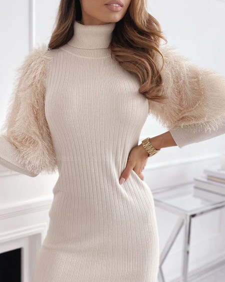 Fluffy Sleeve High Neck Knit Dress