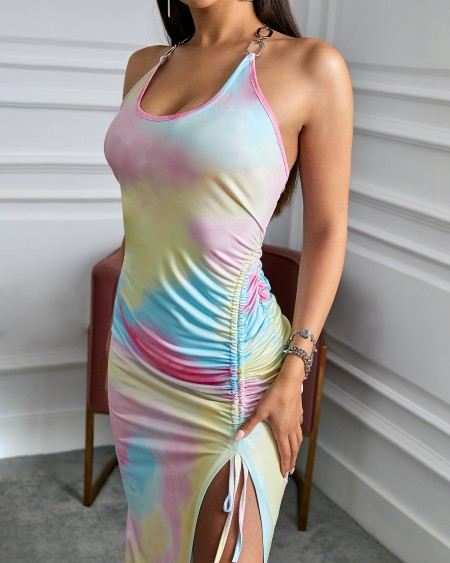 Tie Dye Print Halter Chain Strap Dress
