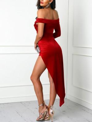 Solid Velvet Ruched Irregular Hem Dress