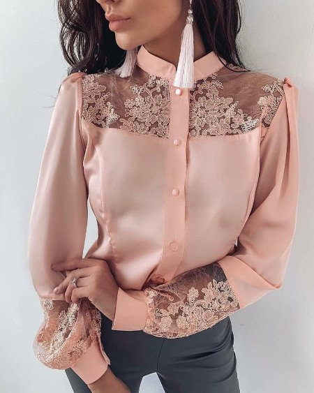 Mesh Embroidery Insert Button Up Blouse