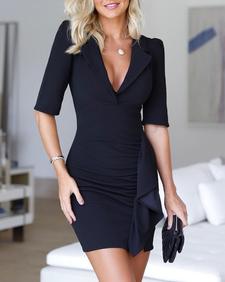 Half Sleeve Ruched Design Blazer Dress