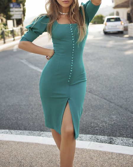 Solid Puff Sleeve Buttoned Slit Dress