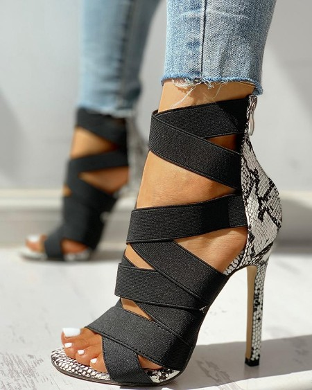 boutiquefeel / Lace-Up Bandage Patchwork Snakeskin Thin Heeled Sandals