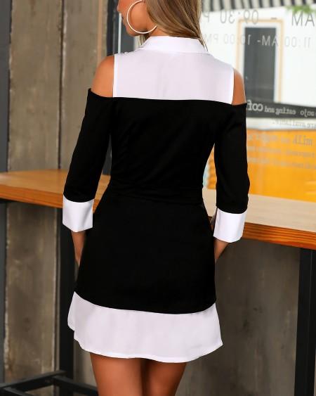 Colorblock Insert Cold Shoulder Belted Dress