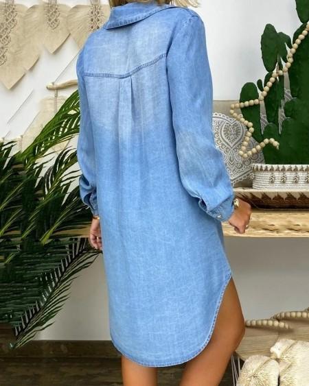 Buttoned Pockets Denim Shirt Dress
