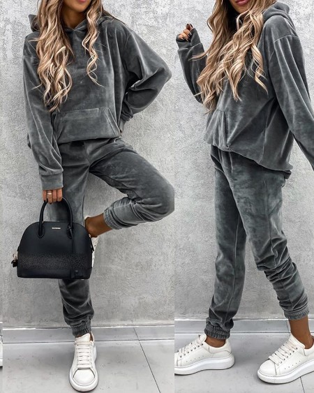 Plain Pocket Design Hooded Top & Pants Set