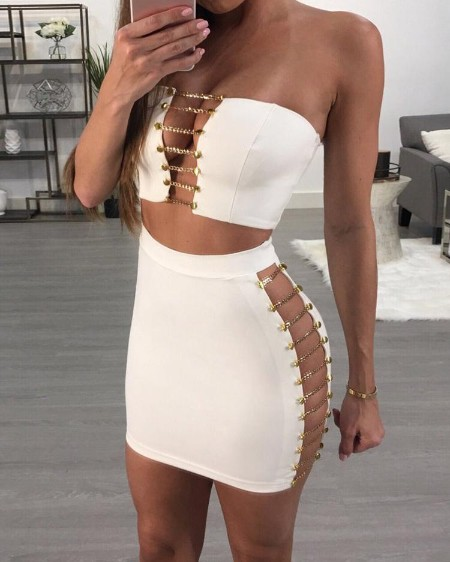 Sexy Strapless Ladder Cutout Skirt Set