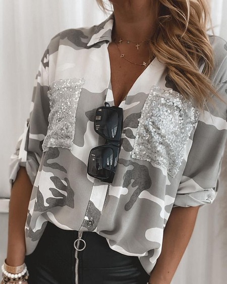 Camouflage Long Sleeve Blouse With Pocket
