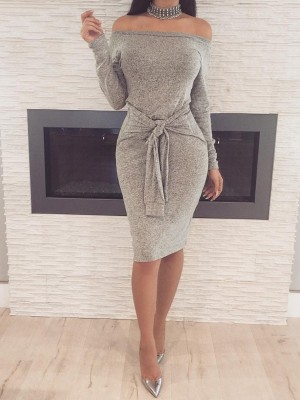 Trendy Off Shoulder Knotted Bodycon Dress