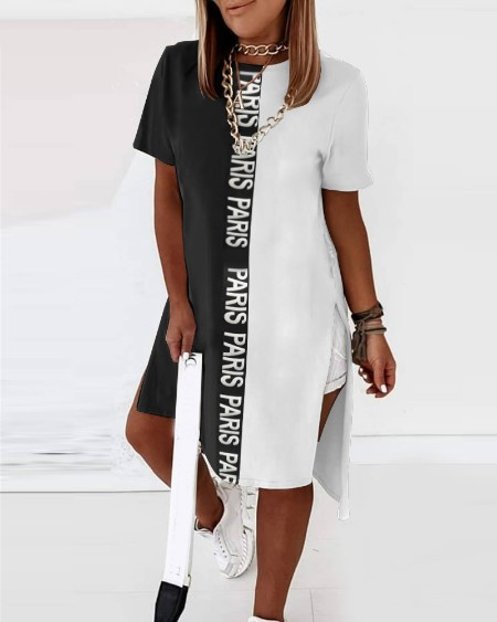 High Slit Letter Print Colorblock T-shirt Dress