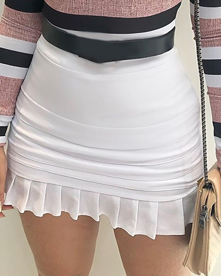 Off Shoulder Striped Top & Ruffles Skirt Set