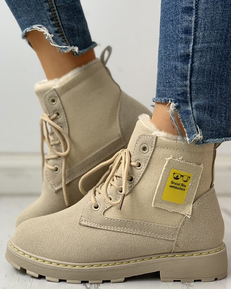 boutiquefeel / Eyelet Lace-Up Ankle-Boots