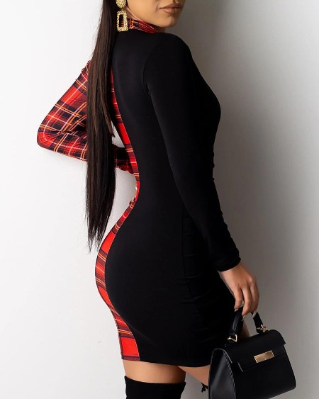 Grid Print Insert Drawstring Bodycon Dress