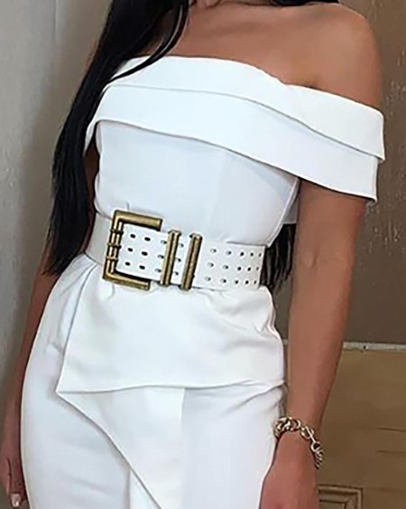 Off Shoulder Irregular Hem Bodycon Dress