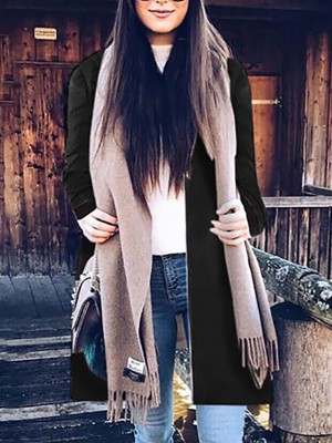 Fashion Patchwork Zipper Up Coat