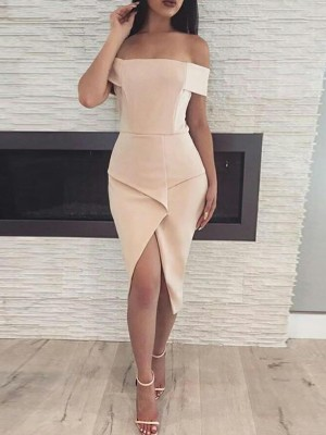 Off Shoulder Slit Front Irregular Party Dress