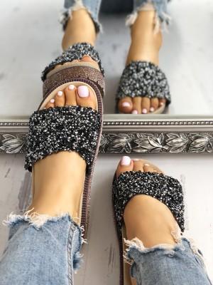 Shiny Sequins Embellished Open Toe Sandals
