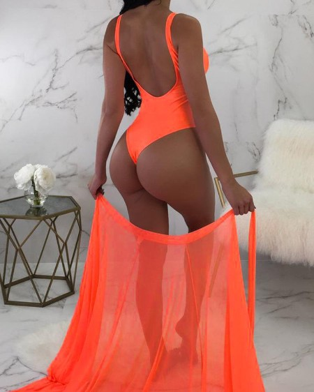 Solid One-Piece /w Tied Cover Up Swimsuit