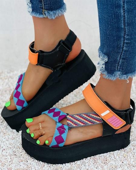 Round-toe Color Block Strap Open-toe Platform Sandals