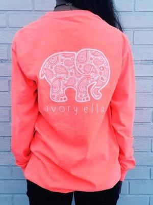 Women Elephant Print Long Sleeve Casual T-shirt