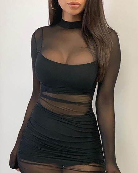 Solid Mesh See Through Design Ruched Dress With Lining
