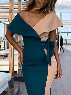 Colorblock Patchwork Fold Over V Neck Maxi Dress
