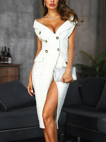 Plaid Print Double Breasted Slit Blazer Dress