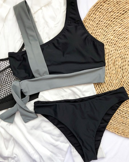 Patchwork Design Sleeveless Bikini Set