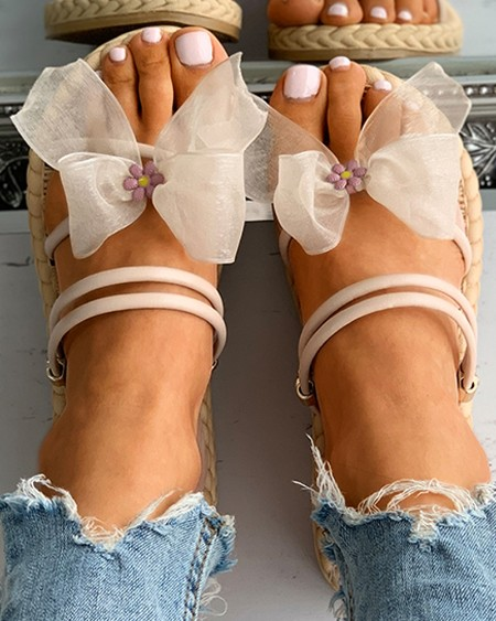 Double Strap Bowknot Mesh Floral Pattern Flat Sandals