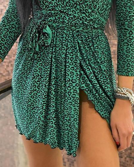 V-Neck Leopard Tassel Design Ruched Slit Dress