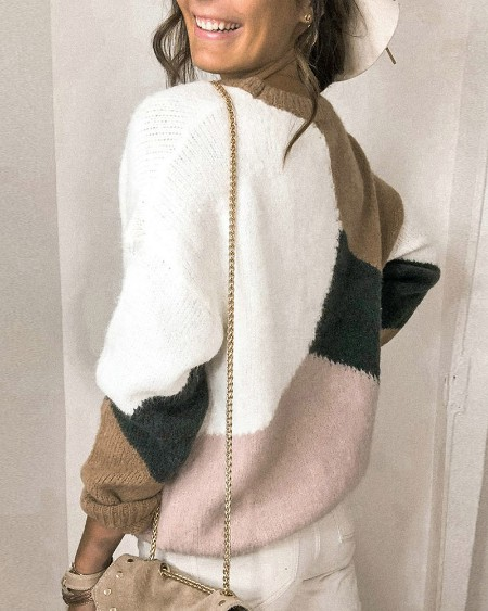 Colorblock Fluffy Casual Knit Sweater