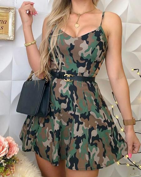 Camo Print Spaghetti Strap Casual Dress